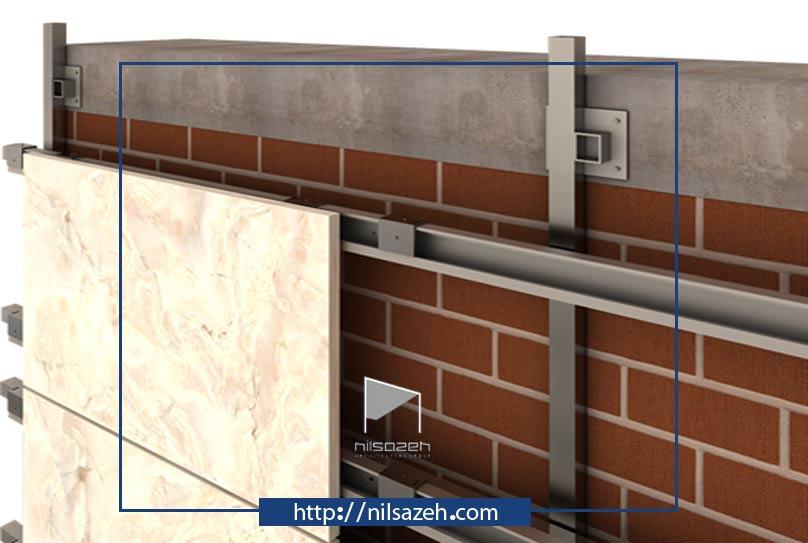 سیستم اجرای نمای سرامیک خشک پرسلانی به روش غیر نمایان (kail)