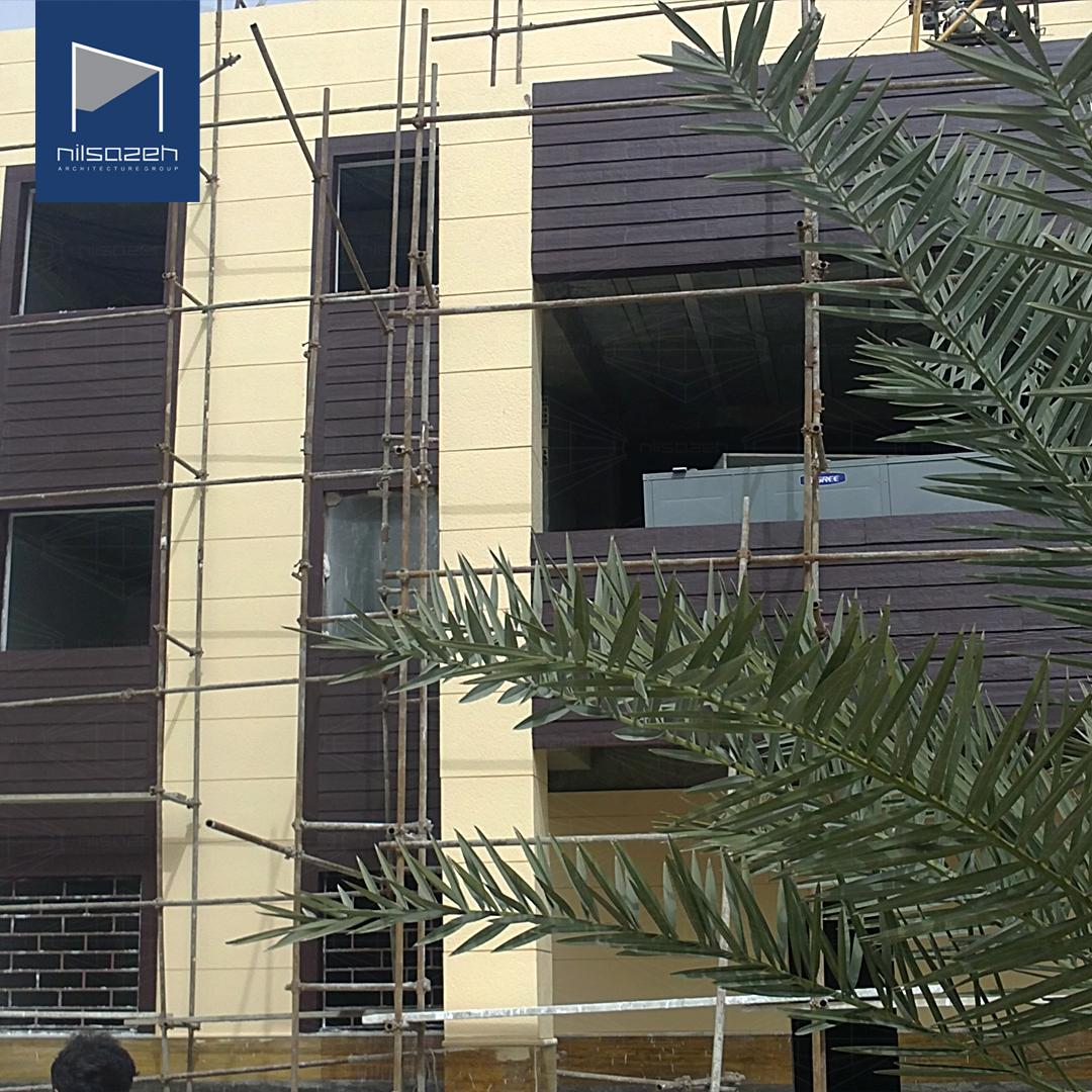 اجرای نمای فایبرسمنت برد پروژه کتابخانه بوشهر