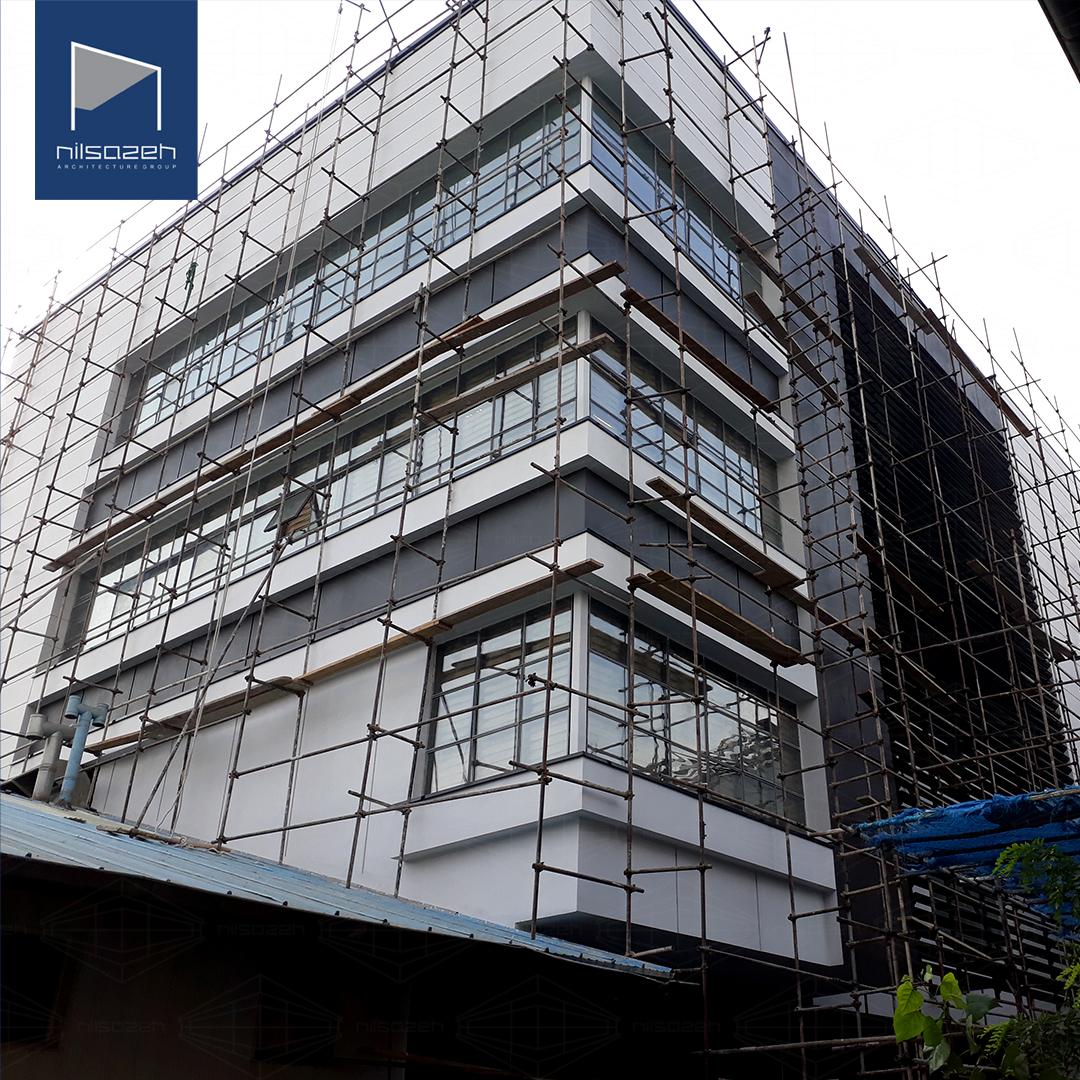 اجرای نمای فایبرسمنت برد ساختمان اداری شرکت سایپا