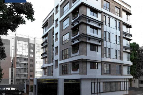 طراحی و اجرای نمای سنگ تراورتن و آجرنسوز ساختمان حیدری